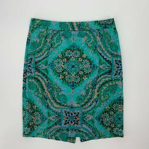 J.Crew The Pencil Skirt Size 2 Green Paisley